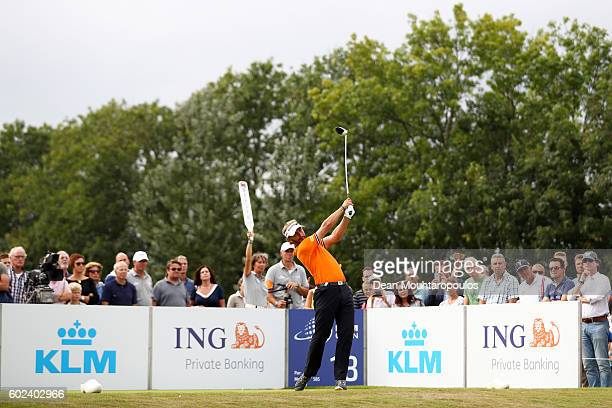 Joost Luiten of the Netherlands hits his tee shot on the 18th during the final round on day four of the KLM Open at The Dutch on September 11 2016 in...
