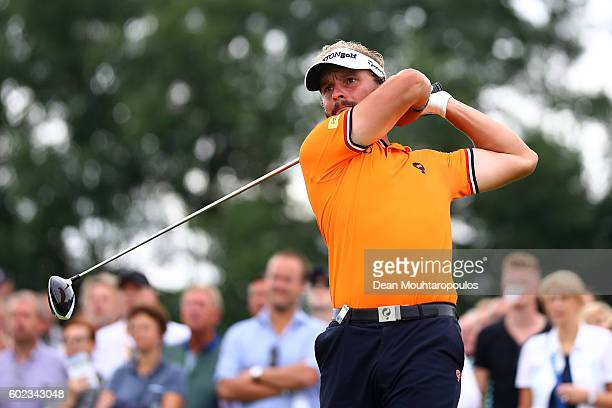 Joost Luiten of the Netherlands hits his tee shot on the 5th during the final round on day four of the KLM Open at The Dutch on September 11 2016 in...