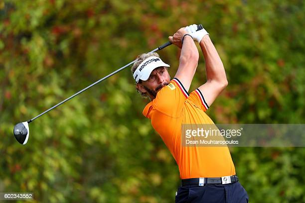 Joost Luiten of the Netherlands hits his tee shot on the 6th during the final round on day four of the KLM Open at The Dutch on September 11 2016 in...