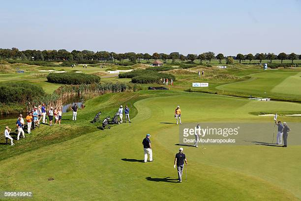 Joost Luiten of the Netherlands is pictured putting on the 8th green during the KLM Open ProAm held at The Dutch on September 7 2016 in Spijk...