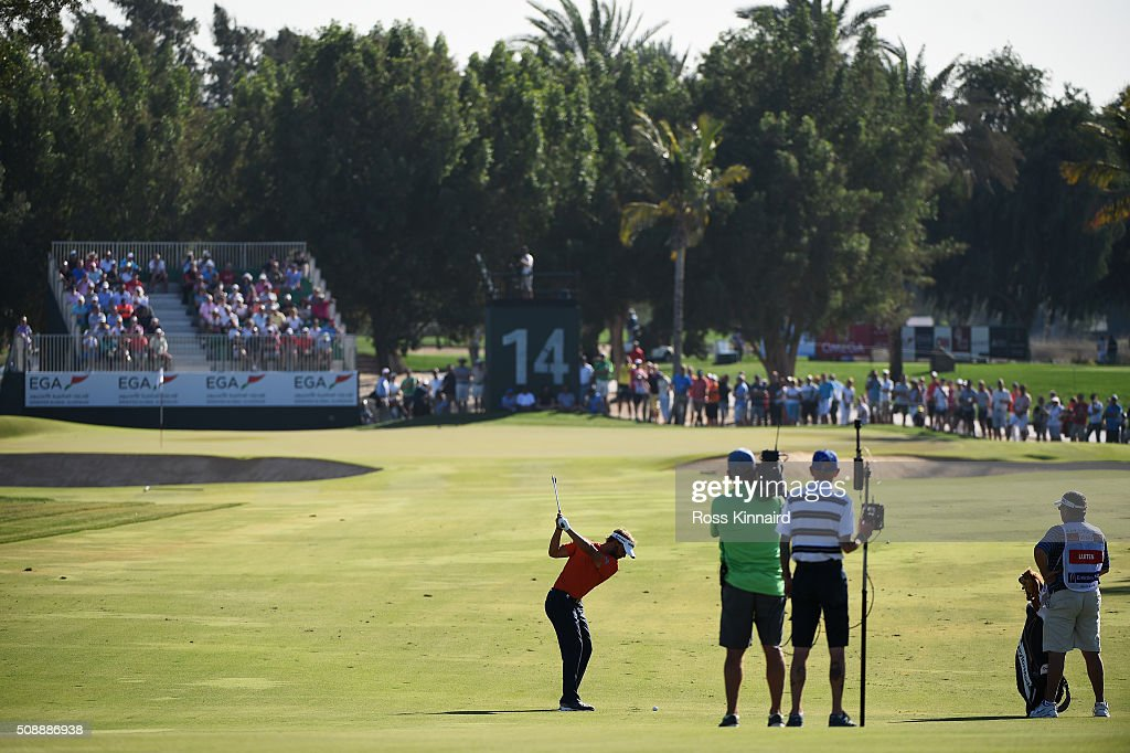 <a gi-track='captionPersonalityLinkClicked' href=/galleries/search?phrase=Joost+Luiten&family=editorial&specificpeople=669937 ng-click='$event.stopPropagation()'>Joost Luiten</a> of the Netherlands plays his second shot on the 14th hole during the final round of the Omega Dubai Desert Classic at the Emirates Golf Club on February 7, 2016 in Dubai, United Arab Emirates.