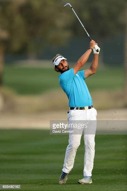 Joost Luiten of the Netherlands plays his third shot to the par 5 10th hole during the first round of the 2017 Omega Dubai Desert Classic on the...