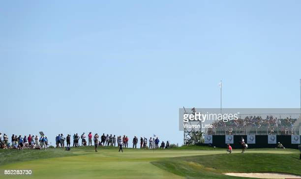 Joost Luiten of the Netherlands putts on the ninth green during the Portugal Masters at the Oceanico Victoria Golf Club on September 23 2017 in...