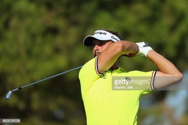 Joost Luiten of The Netherlands tees off on the 15th during day one of the 2017 Portugal Masters at Oceanico Victoria Golf Club on September 21 2017...