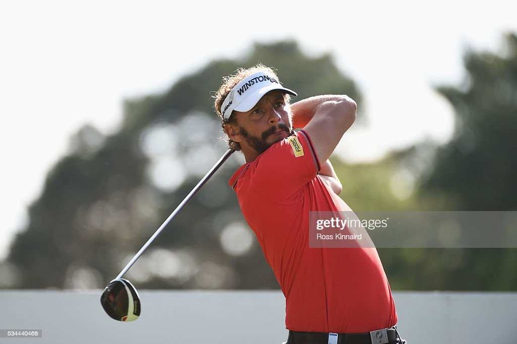 <a gi-track='captionPersonalityLinkClicked' href=/galleries/search?phrase=Joost+Luiten&family=editorial&specificpeople=669937 ng-click='$event.stopPropagation()'>Joost Luiten</a> of the Netherlands tees off on the 15th hole during day one of the BMW PGA Championship at Wentworth on May 26, 2016 in Virginia Water, England.
