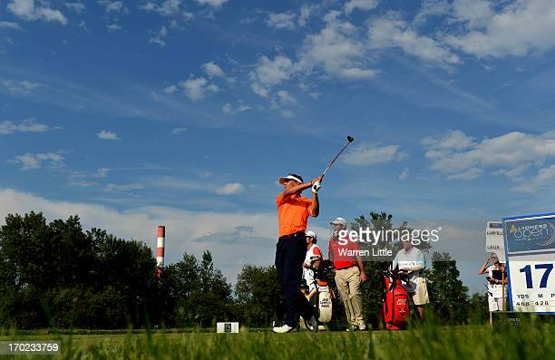 Joost Luiten of the Netherlands tees off on the 17th hole during the final round of the Lyoness Open powered by Greenfinity at Diamond Country Club...