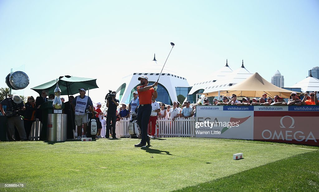 Joost Luiten of the Netherlands tees off on the 1st hole during the final round of the Omega Dubai Desert Classic at the Emirates Golf Club on February 7, 2016 in Dubai, United Arab Emirates.