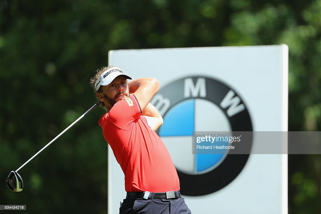 Joost Luiten of the Netherlands tees off on the 2nd hole during day one of the BMW PGA Championship at Wentworth on May 26, 2016 in Virginia Water, England.
