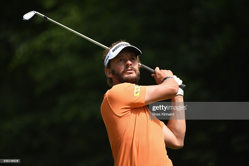 <a gi-track='captionPersonalityLinkClicked' href=/galleries/search?phrase=Joost+Luiten&family=editorial&specificpeople=669937 ng-click='$event.stopPropagation()'>Joost Luiten</a> of the Netherlands tees off on the 5th hole during day four of the BMW PGA Championship at Wentworth on May 29, 2016 in Virginia Water, England.