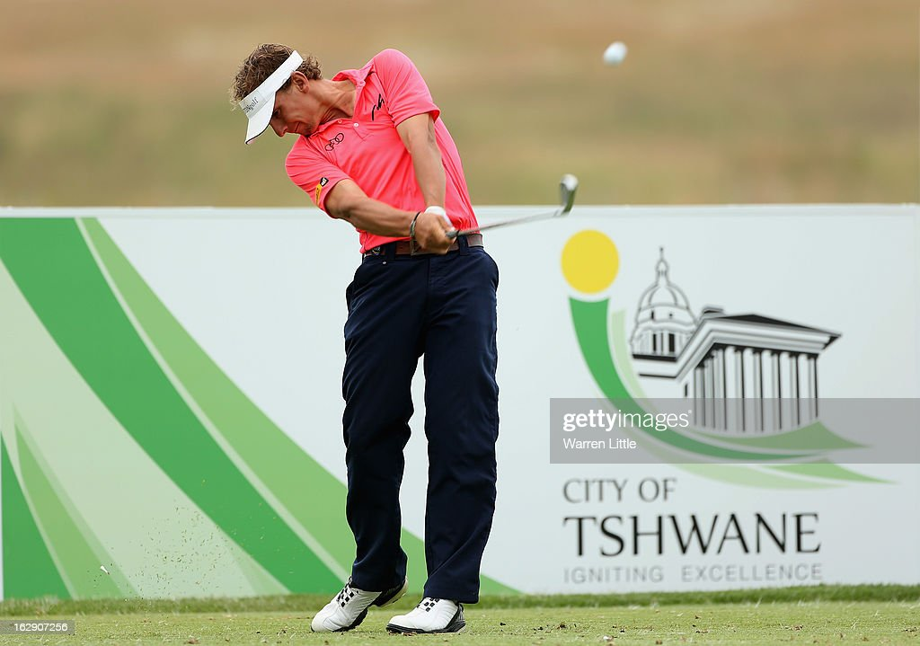 <a gi-track='captionPersonalityLinkClicked' href=/galleries/search?phrase=Joost+Luiten&family=editorial&specificpeople=669937 ng-click='$event.stopPropagation()'>Joost Luiten</a> of the Netherlands tees off on the fourth hole during the second round of the Tshwane Open at Copperleaf Golf & Country Estate on March 1, 2013 in Centurion, South Africa.