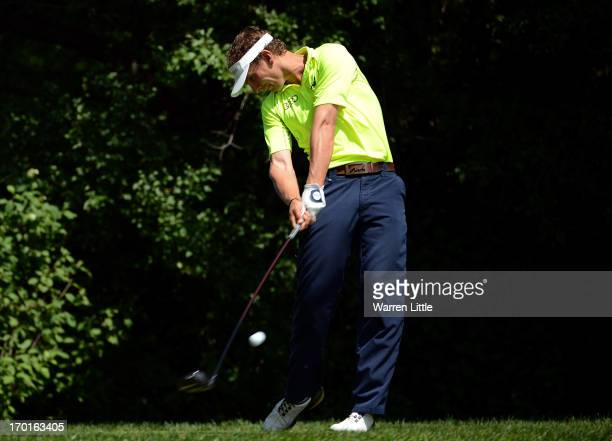 Joost Luiten of the Netherlands tees off on the sixth hole during the third round of the Lyoness Open powered by Greenfinity at Diamond Country Club...