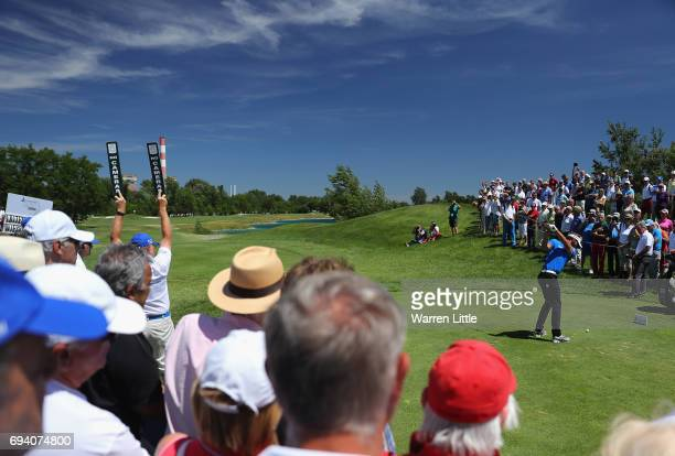 Joost Luiten of the Netherlands tees off the first hole during the second round of the Lyoness Open at Diamond Country Club on June 9 2017 in...