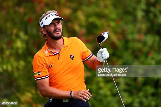 Joost Luiten of the Netherlands watches his tee shot on the 6th during the final round on day four of the KLM Open at The Dutch on September 11 2016...