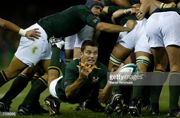 Joost van der Westhuizen of South Africa in action during the Rugby World Cup Quarter Final 1 match between New Zealand and South Africa at the...