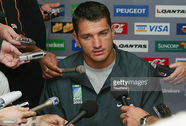 Joost van der Westhuizen of South Africa talks to the media at the South African press conference during the Rugby World Cup 2003 on November 5 2003...