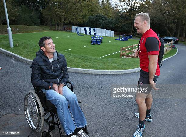 Joost van der Westhuizen the former South African Sprinbok who is suffering with Motor Neurone Disease laughs withJames Hasekll after the England...