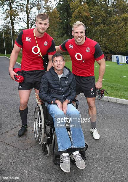 Joost van der Westhuizen the former South African Sprinbok who is suffering with Motor Neurone Disease poses with James Hasekll and George Kruis...