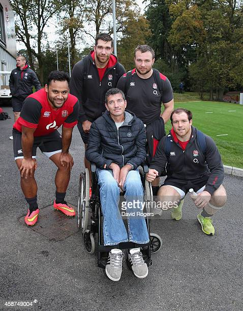 Joost van der Westhuizen the former South African Sprinbok who is suffering with Motor Neurone Disease poses Billy Vunipola Graham Kitchener Matt...