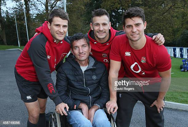 Joost van der Westhuizen the former South African Sprinbok who is suffering with Motor Neurone Disease poses with England scrumhalfs Richard...