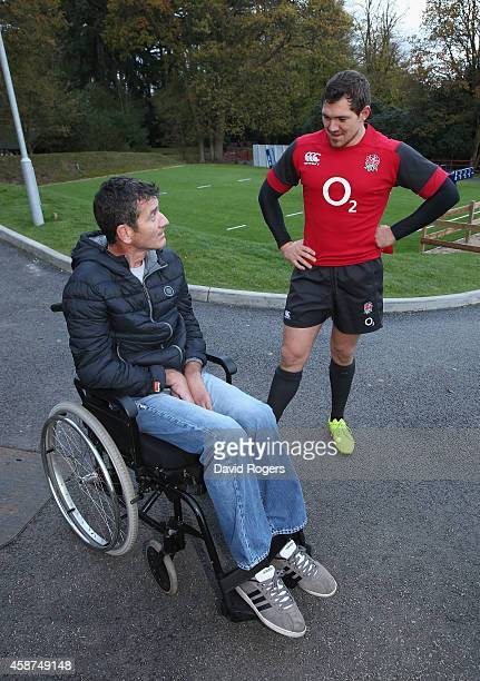 Joost van der Westhuizen the former South African Sprinbok who is suffering with Motor Neurone Disease talks to Alex Goode after the England training...