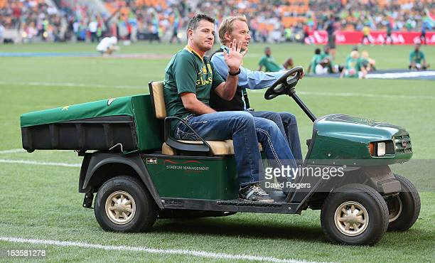 Joost van der Westhuizen the former Springbok scrumhalf who is suffering with motor neurone disease waves to the crowd during the Rugby Championship...