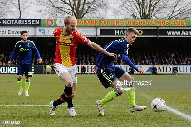 Jop van der Linden of Go Ahead Eagles Daley Sinkgraven of Ajax during the Dutch Eredivisie match between Go Ahead Eagles and Ajax Amsterdam at The...