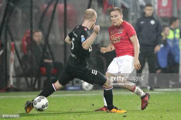Jop van der Linden of Willem II Jonas Svensson of AZ Alkmaar during the Dutch Eredivisie match between AZ Alkmaar v Willem II at the AFAS Stadium on...