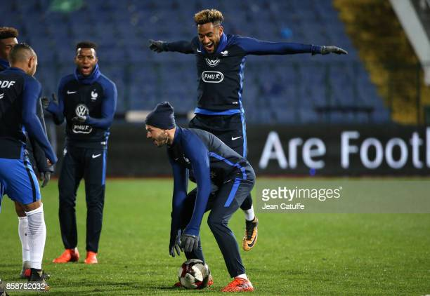Jordan Amavi Christophe Jallet of France warm down following the FIFA 2018 World Cup Qualifier between Bulgaria and France at Vasil Levski National...