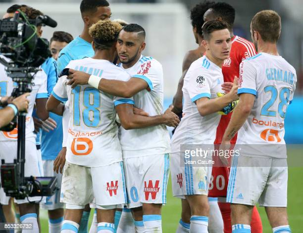 Jordan Amavi Dimitri Payet Florian Thauvin Valere Germain of OM celebrate the victory following the French Ligue 1 match between Olympique de...