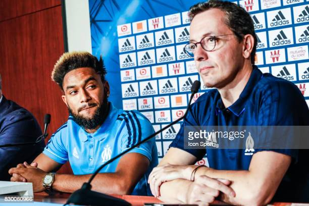 Jordan Amavi new player of Marseille and Jacques Henri Eyraud president of Marseille during press conference of Olympique de Marseille on August 10...