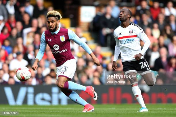 Jordan Amavi of Aston Villa and Sone Aluko of Fulham in action during the Sky Bet Championship match between Fulham and Aston Villa at Craven Cottage...