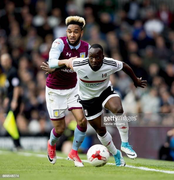 Jordan Amavi of Aston Villa during the Sky Bet Championship match between Fulham and Aston Villa at Craven Cottage on April 17 2017 in London England