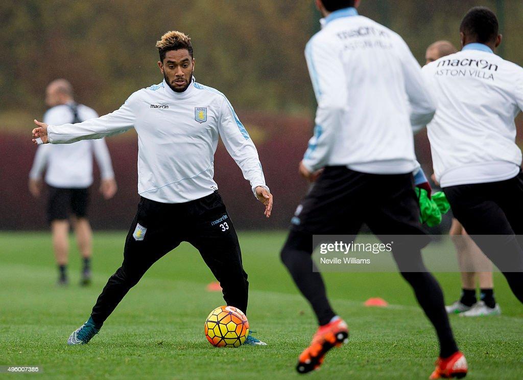 Jordan Amavi of Aston Villa in action during a Aston Villa training session at the club's training ground at Bodymoor Heath on November 06, 2015 in Birmingham, England.