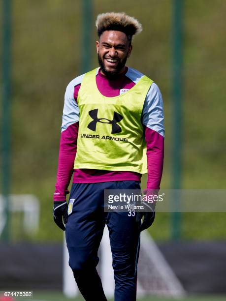 Jordan Amavi of Aston Villa in action during a training session at the club's training ground at Bodymoor Heath on April 28 2017 in Birmingham England