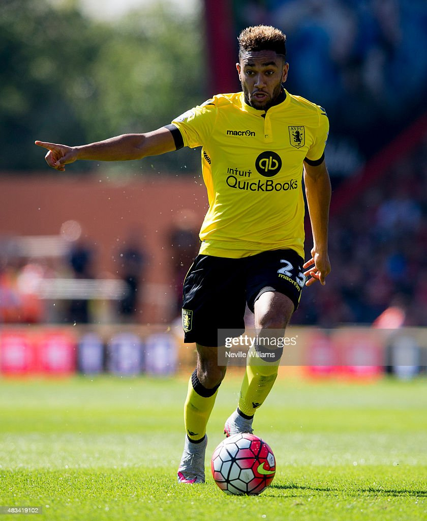 Jordan Amavi of Aston Villa in action during the Barclays Premier League match between A.F.C. Bournemouth and Aston Villa at the Vitality Stadium on August 08, 2015 in Bournemouth, England.