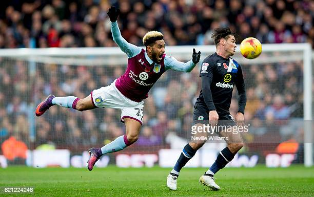 Jordan Amavi of Aston Villa is challenged by Ben Marshall of Blackburn Rovers during the Sky Bet Championship match between Aston Villa and Blackburn...