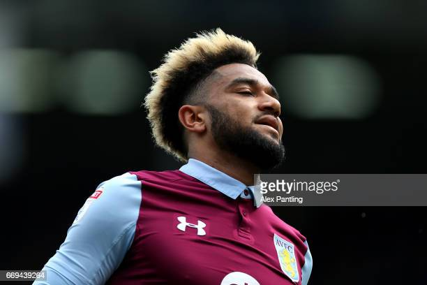 Jordan Amavi of Aston Villa reacts during the Sky Bet Championship match between Fulham and Aston Villa at Craven Cottage on April 17 2017 in London...