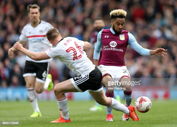 Jordan Amavi of Aston Villa takes on Tomas Kalas of Fulham during the Sky Bet Championship match between Fulham and Aston Villa at Craven Cottage on...