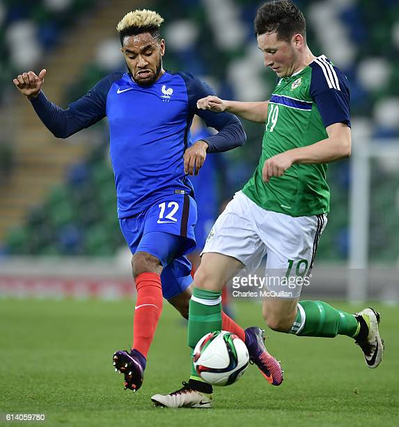 Jordan Amavi of France and Conor McDermott of Northern Ireland during the UEFA European 2017 U21 qualifier between Northern Ireland and France at...