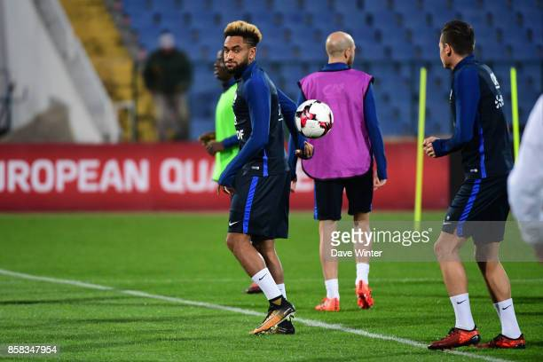 Jordan Amavi of France and Florian Thauvin of France during the training session of the France football team ahead the World Cup qualifying match...