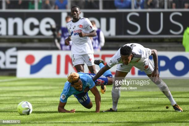 Jordan Amavi of Marseille and Bongani Zungu of Amiens during the Ligue 1 match between Amiens SC and Olympique Marseille at Stade de la Licorne on...