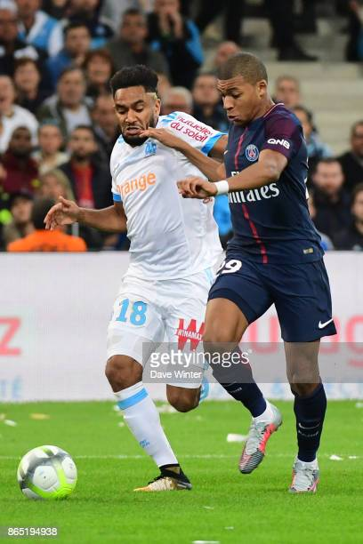 Jordan Amavi of Marseille and Kylian Mbappe of PSG during the Ligue 1 match between Olympique Marseille and Paris Saint Germain at Stade Velodrome on...