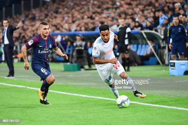 Jordan Amavi of Marseille and Marco Verratti of PSG during the Ligue 1 match between Olympique Marseille and Paris Saint Germain at Stade Velodrome...
