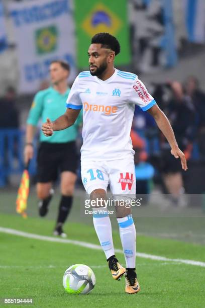 Jordan Amavi of Marseille during the Ligue 1 match between Olympique Marseille and Paris Saint Germain at Stade Velodrome on October 22 2017 in...