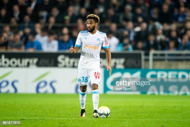 Jordan Amavi of Marseille during the Ligue 1 match between Strasbourg and Olympique Marseille at Stade de la Meinau on October 15 2017 in Strasbourg