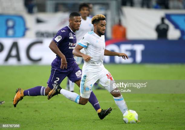 Jordan Amavi of OM Kelvin Amian Adou of Toulouse during the French Ligue 1 match between Olympique de Marseille and Toulouse FC at Stade Velodrome on...