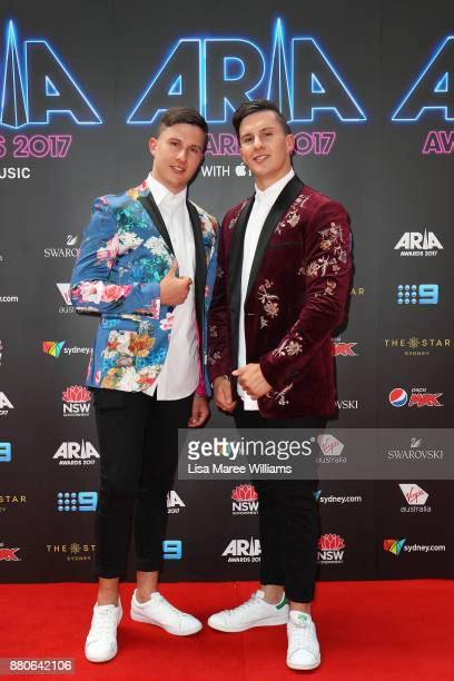 Jordan and Brandon AbouGhaida of Take Two arrive for the 31st Annual ARIA Awards 2017 at The Star on November 28 2017 in Sydney Australia