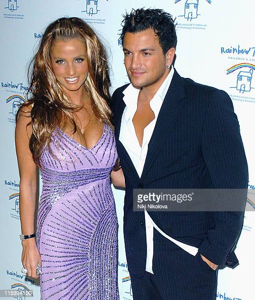 Jordan and Peter Andre during Rainbow Glass Slipper Ball 2005 at London Hilton in London Great Britain