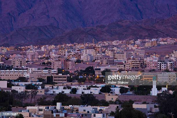 Jordan, Aqaba, elevated city view