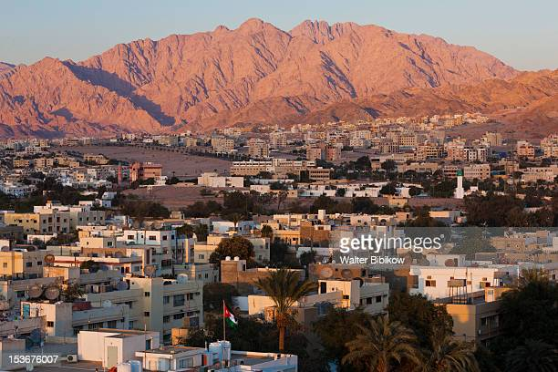 Jordan, Aqaba, elevated city view, sunset